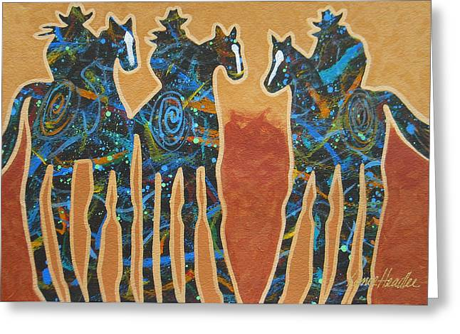Arizona Contemporary Cowgirl Greeting Cards - Three With Rope Greeting Card by Lance Headlee