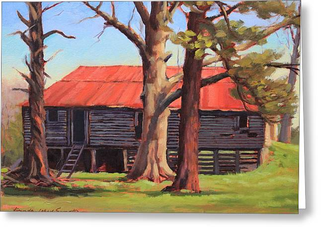 Red Roofed Barn Greeting Cards - Three Witnesses Greeting Card by Brenda Sumpter