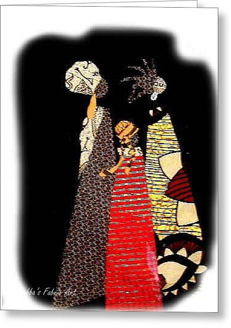 People Tapestries - Textiles Greeting Cards - Three Women in the Dark Greeting Card by Ruth Yvonne Ash