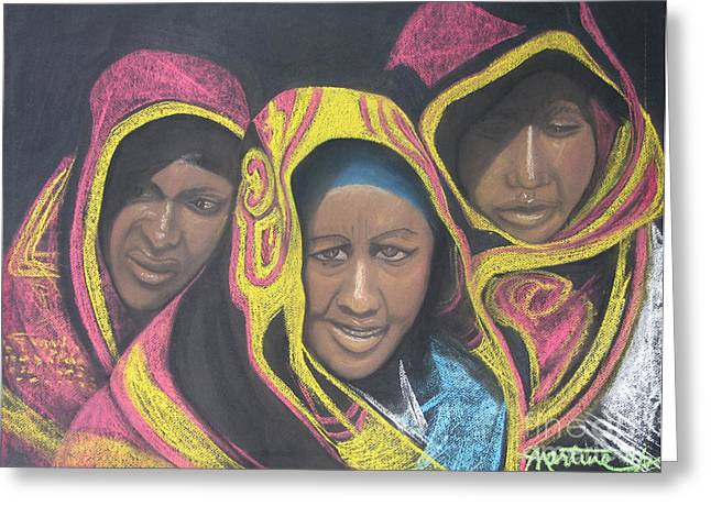 Pastel Shawl Greeting Cards - Three Women Greeting Card by Martine Hubbard