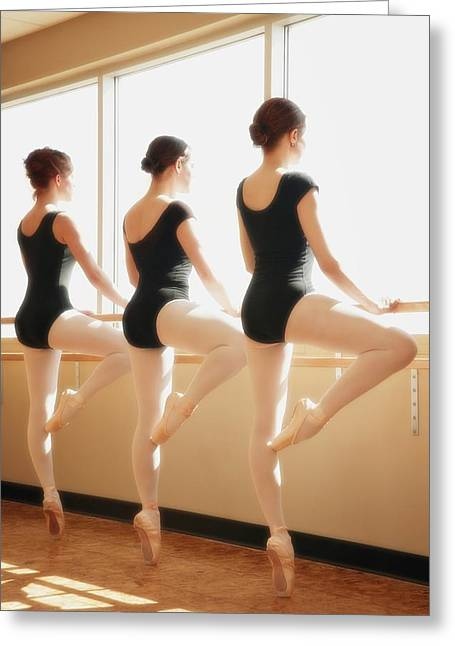 Ballet Bar Greeting Cards - Three Women Practicing Dance Greeting Card by Don Hammond