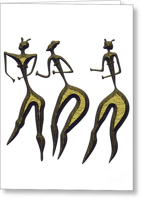 Primitive Mixed Media Greeting Cards - Three Women - Primitive Art Greeting Card by Michal Boubin