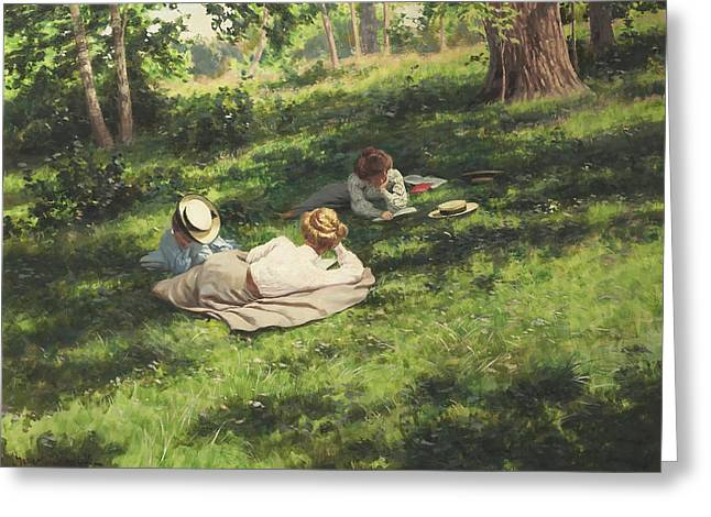 Lay Lady Lay Greeting Cards - Three Women Reading Greeting Card by Krouthen