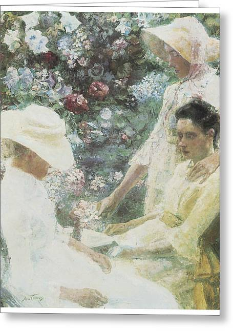 Victorian Era Woman Greeting Cards - Three Women with Flowers Greeting Card by Jan Toorop