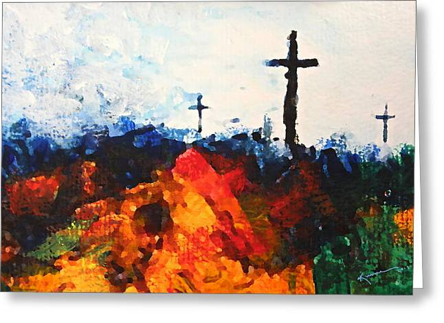 The Wooden Cross Greeting Cards - Three Wooden Crosses Greeting Card by Kume Bryant