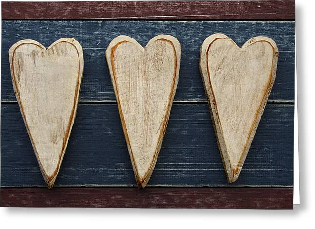 American Primitive Art Greeting Cards - Three Wooden Hearts Greeting Card by Carol Leigh