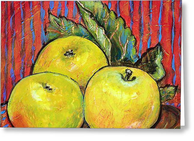 Apple Greeting Cards - Three Yellow Apples Greeting Card by Blenda Studio