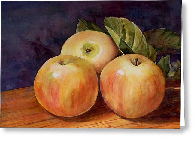 Blenda Greeting Cards - Three Yellow Apples Still Life Greeting Card by Blenda Studio