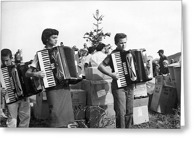1950s Music Greeting Cards - Three Young Accordion Players Greeting Card by Underwood Archives