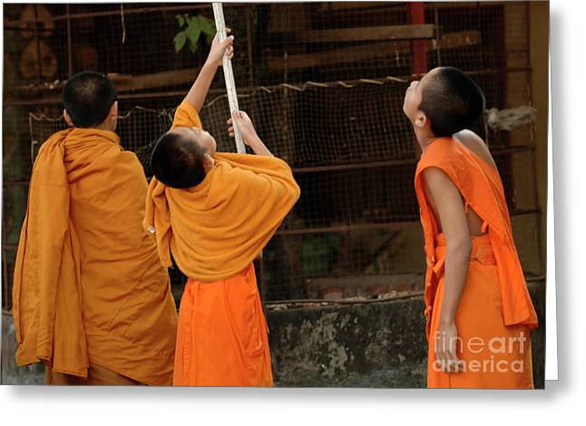 Buddhist Monks Greeting Cards - Three Young Monks Laos Greeting Card by Bob Christopher