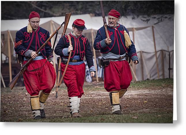 Randy Greeting Cards - Three Zouave Reenactor Civil War Soldiers Greeting Card by Randall Nyhof