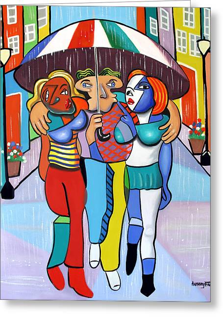 Two Women Greeting Cards - Threes A Crowd By Anthony Falbo                                          Greeting Card by Anthony Falbo