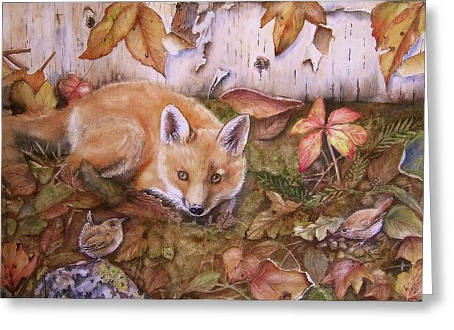 Fox Kit Paintings Greeting Cards - Threes a Crowd Greeting Card by Patricia Pushaw