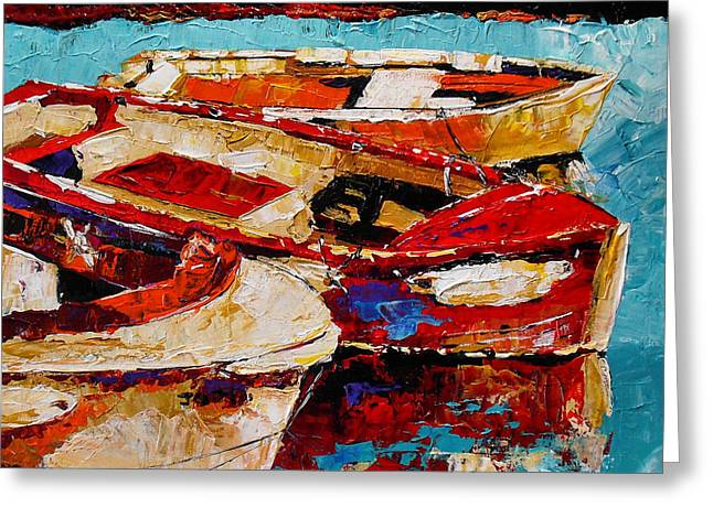 Row Boat Greeting Cards - Threes a Crowd Greeting Card by Vickie Warner