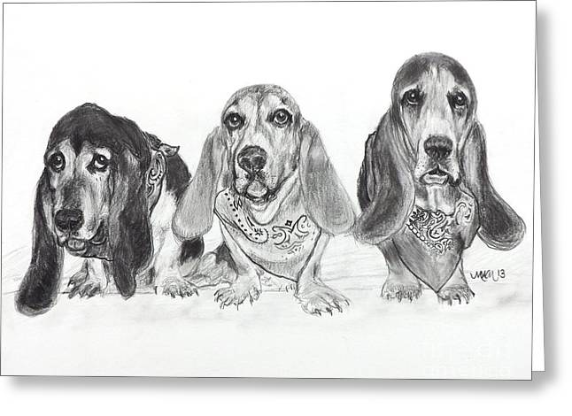 Basset Drawings Greeting Cards - Threes Company Greeting Card by Michelle Wolff