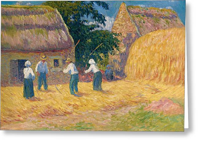 Moret Greeting Cards - Threshing of Grain Greeting Card by Henry Moret