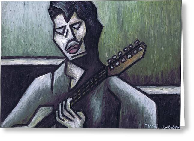 Live Music Pastels Greeting Cards - Thrill Is Gone Greeting Card by Kamil Swiatek
