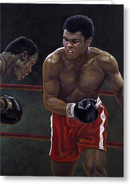 Boxing Greeting Cards - Thrilla in Manilla Greeting Card by Gregory Perillo