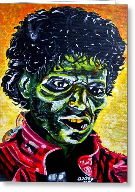 Thriller Paintings Greeting Cards - Thriller Greeting Card by Jose Mendez
