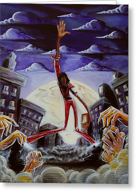 Thriller Paintings Greeting Cards - Thriller V3 Greeting Card by Tu-Kwon Thomas