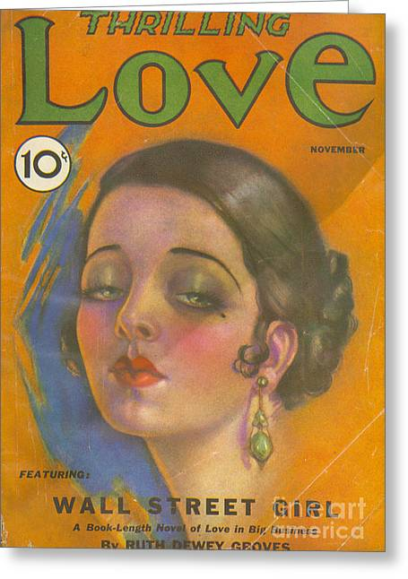 With Love Drawings Greeting Cards - Thrilling Love 1931 1930s Usa Pulp Greeting Card by The Advertising Archives