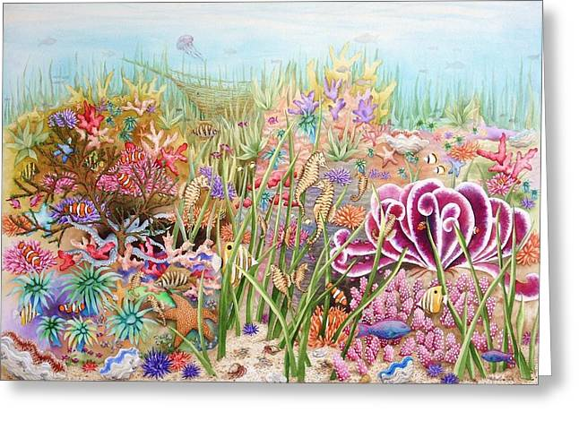 Jelly Fish Paintings Greeting Cards - Thriving Ocean  Greeting Card by Katherine Young-Beck
