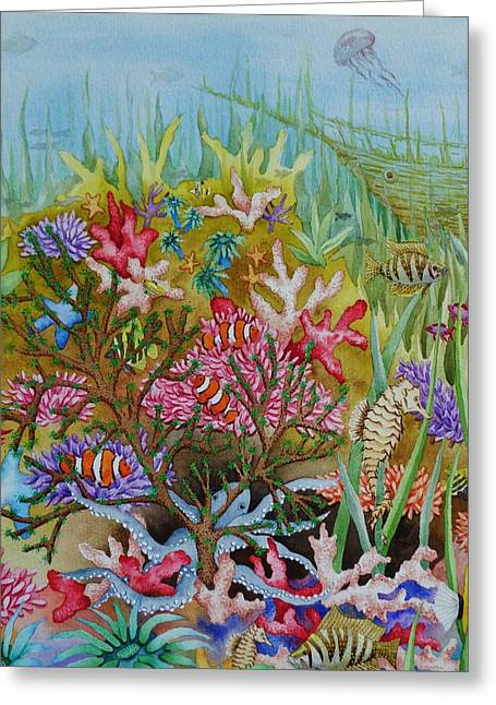 Clown Fish Greeting Cards - Thriving Ocean -Sunken Ship Greeting Card by Katherine Young-Beck