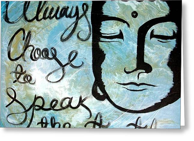 Choosing Mixed Media Greeting Cards - Throat Chakra Painting with Buddha Greeting Card by Aguilar and Company