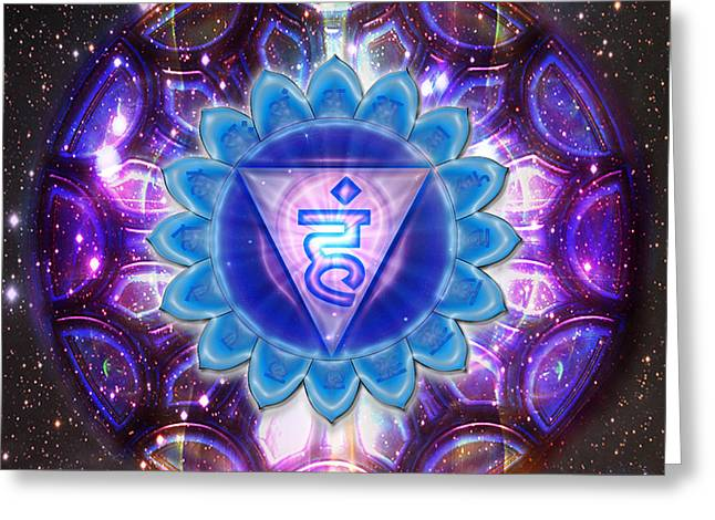 Throat Chakra Vishuddha  Greeting Card by Mynzah Osiris