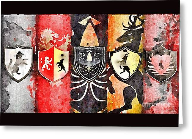 Chevalier Paintings Greeting Cards - Thrones Greeting Card by Helge
