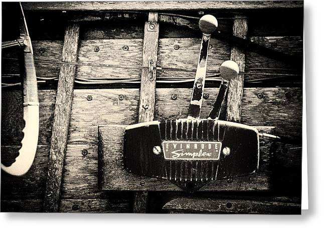 Throttle Greeting Cards - Throttles of an Old Wooden Boat Greeting Card by Mountain Dreams