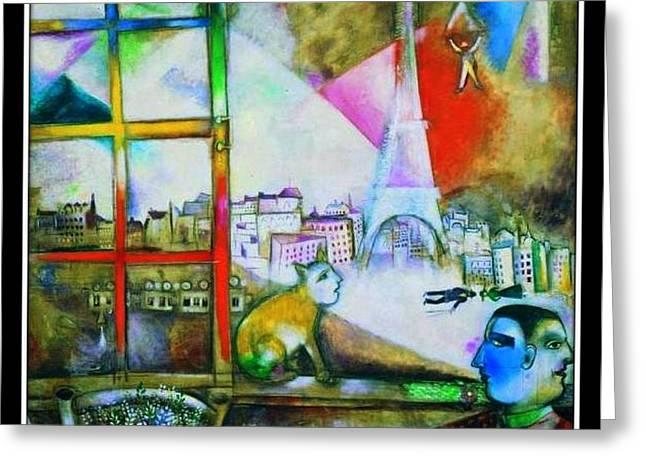 Through A Paris Window Greeting Card by Marc Chagall