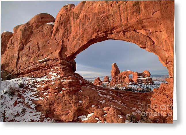 Southern Utah Greeting Cards - Through A Rugged Window Greeting Card by Adam Jewell