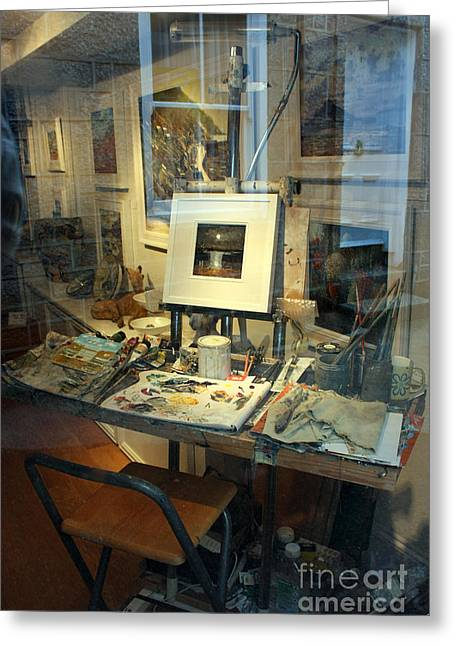 Pallet Knife Photographs Greeting Cards - Through an Artists Window Greeting Card by Terri  Waters