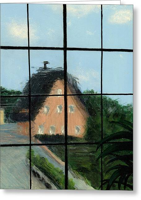 Historic Home Greeting Cards - Through an Old Glass Window Greeting Card by Karyn Robinson