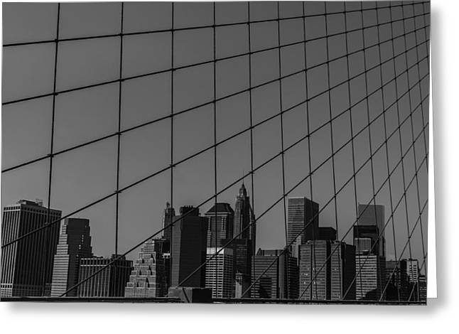 City Buildings Greeting Cards - Through Brooklyn Bridge Greeting Card by Chris Fletcher