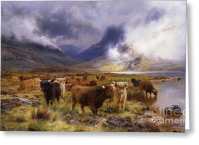 Groups Of Animals Greeting Cards - Through Glencoe by  Way to the Tay Greeting Card by Louis Bosworth Hurt