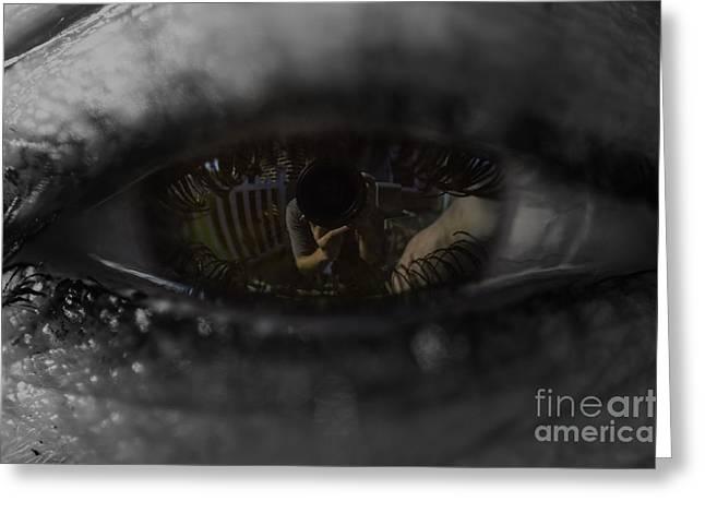Self-portrait Photographs Greeting Cards - Through her eyes Greeting Card by Tim Kravel