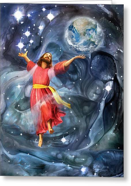 Omnipotent Greeting Cards - Through Him Greeting Card by Francesa Miller
