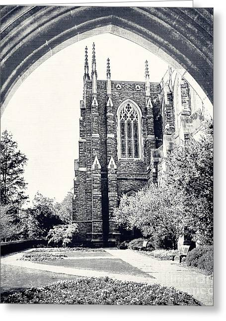 Duke Greeting Cards - Through the Arch in Black and White Greeting Card by Emily Enz