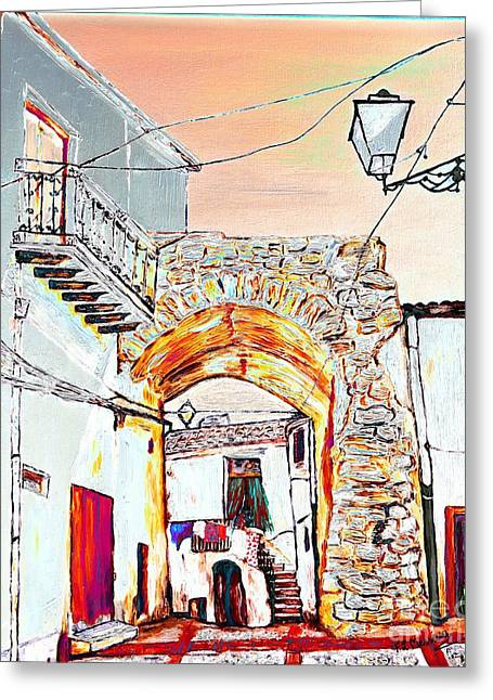 Stone House Mixed Media Greeting Cards - Through the arch Greeting Card by Loredana Messina