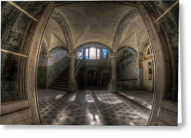 Creepy Digital Greeting Cards - Through the arches Greeting Card by Nathan Wright