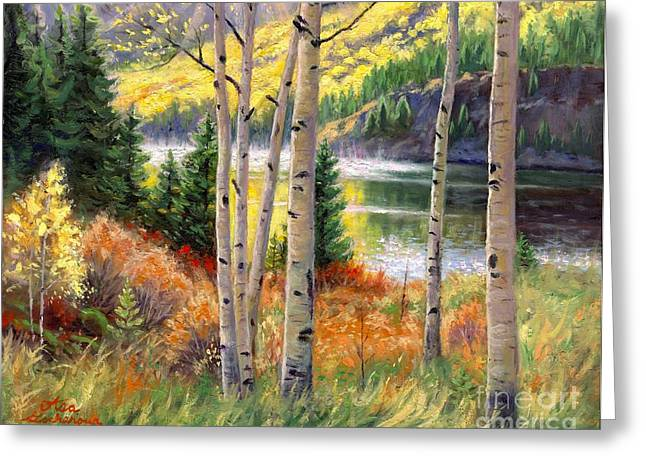 Trees Reflecting In Water Greeting Cards - Through the Aspens Greeting Card by Asa Gochenour