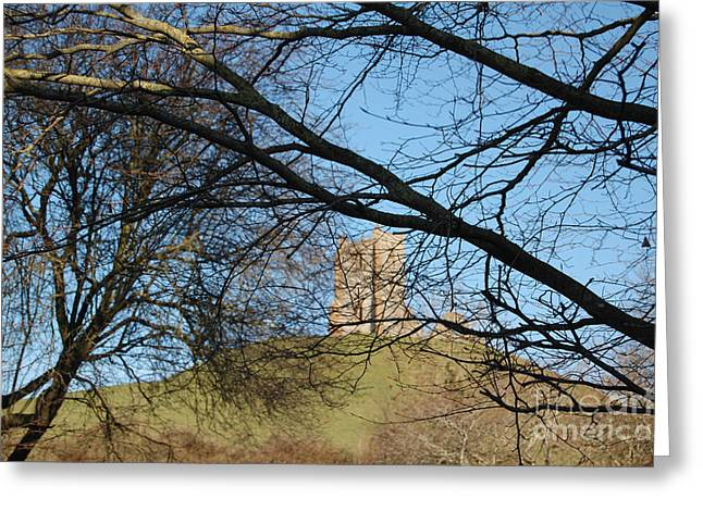 Ley Lines Greeting Cards - Through The Branches To Barrow Mump Greeting Card by Linda Prewer