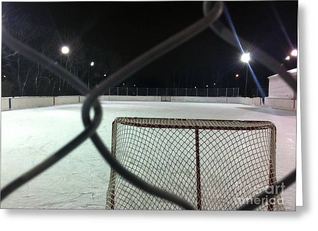 Outdoor Hockey Greeting Cards - Through the cage Greeting Card by Kyle Balharry