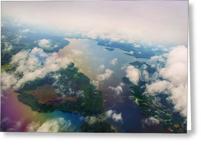 Through The Clouds. Rainbow Earth Greeting Card by Jenny Rainbow