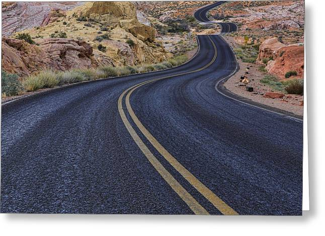 Scenic Drive Greeting Cards - Through The Desert Greeting Card by Rick Berk