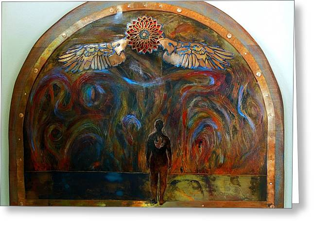 Despair Mixed Media Greeting Cards - Through the Flames Greeting Card by Shahna Lax