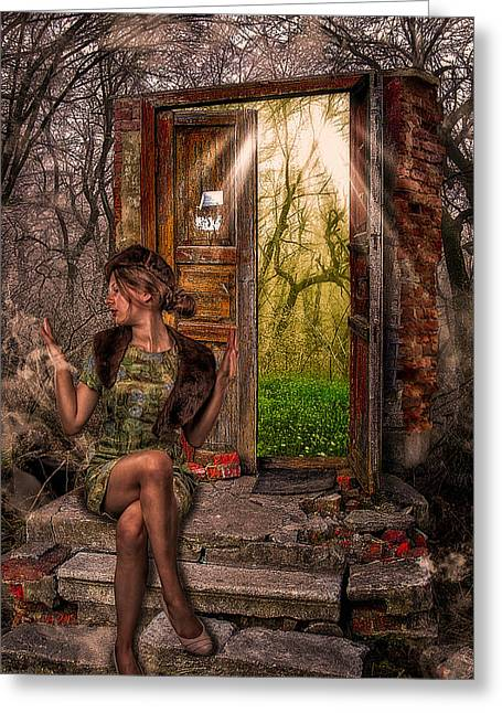 Composite Art Greeting Cards - Through The Forest Door Greeting Card by Erik Brede