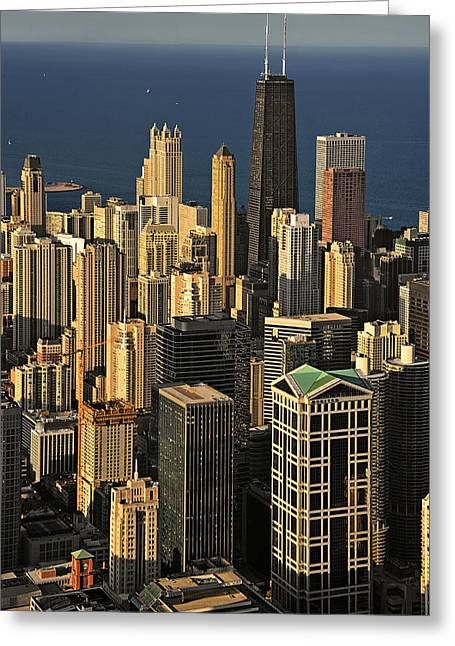 From Above Greeting Cards - Through the haze Chicago shines Greeting Card by Christine Till